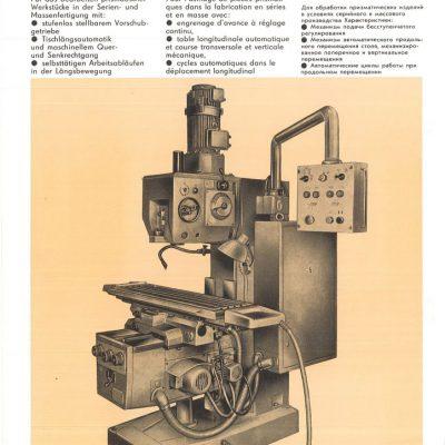 Universal-Konsol-Fräsmaschine AUERBACH WMW Fritz Heckert FSS 250x1000 / V Bedienanleitung in Papierform