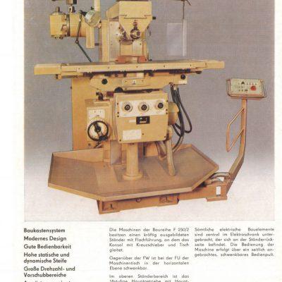 Universal-Konsol-Fräsmaschine AUERBACH WMW Fritz Heckert FU 250x1000 /2 Bedienanleitung in Papierform
