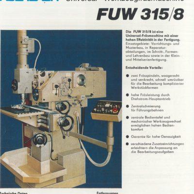 Universal-Konsol-Fräsmaschine AUERBACH WMW Fritz Heckert FUW 315/8 Bedienanleitung als Download