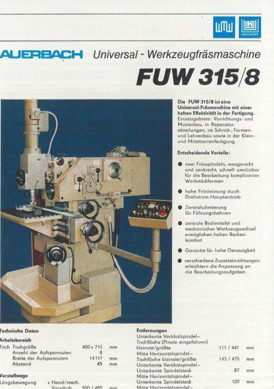 Universal-Konsol-Fräsmaschine AUERBACH WMW Fritz Heckert FUW 315 / 8 Bedienanleitung in Papierform