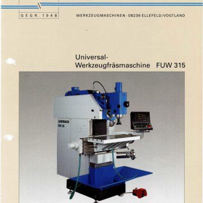 Universal-Konsol-Fräsmaschine AUERBACH FUW 315 Bedienanleitung als Download