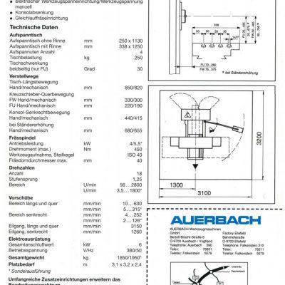 Universal-Konsol-Fräsmaschine AUERBACH WMW Fritz Heckert F 250x1000/2 Bedienanleitung als Download