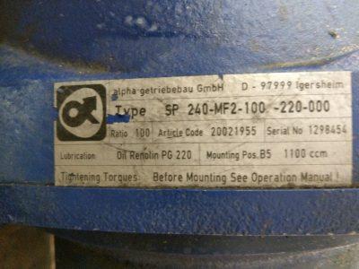 Alpha Getriebebau Planetengetriebe SP 240-MF2-100-220-000