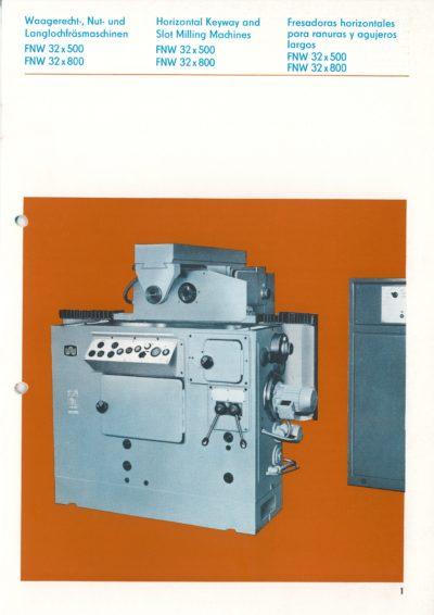 Waagerecht Nut- und Langlochfräsmaschine AUERBACH WMW Fritz Heckert FNW 32x500 und 32x800 Bedienanleitung als Download
