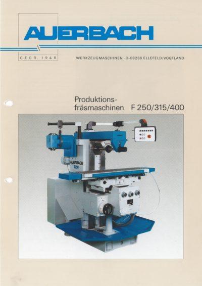 Universal-Konsol-Fräsmaschine AUERBACH F 400 Bedienanleitung als Download